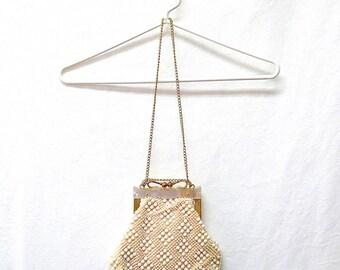 1950s / 60s Vintage Beaded Knit Handbag / White Gold Chain Strap Lucite Frame Bag