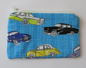 Coin purse pouch - Blue Vintage Cars
