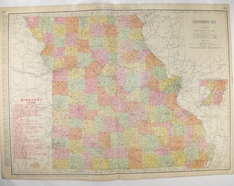 Vintage Map of Missouri, Large MO Map 1903 Antique Missouri Map, Vintage Geography Art Map, Missouri Railroad Map, Large Wall Map MO