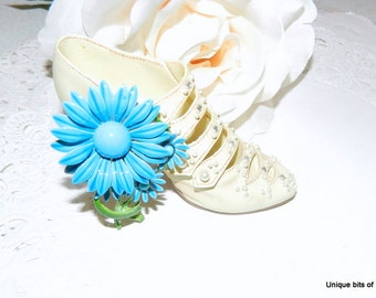Vintage,Blue,Flower,Pin/Brooch