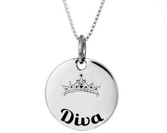 Diva Necklace or Pendant- Sterling Silver