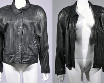 Vtg 1990's Wilson's Leather SUEDE Leather BOMBER Batwing Black Jacket Sm Med