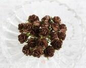 Miniature Roses~Chocolate Set of 20 for Scrapbooking, Cardmaking, Altered Art, Wedding, Mini Album