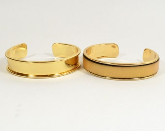 10mm Leather Inset Cuff - Gold Plated - Choose Your Quantity