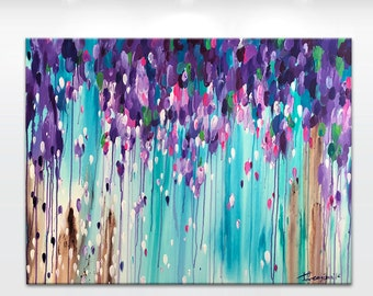 Original abstract painting 'Ascensionem' - by Tatiana Georgieva MADE2ORDER -teal blue, turquoise, pink, purple.