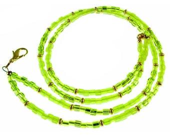 "OVERSTOCK SALE! Lime green beaded break away lanyard, necklace, eyeglass holder. 17.75"" long"