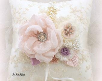 Wedding Ring Pillow, Ivory, Blush, Lilac, Vintage Wedding,Elegant, Gatsby, Lace Ring Pillow, Pearl Ring Pillow, Ring Bearer Pillow, Square