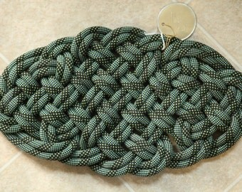 Handwoven Trivet Made from Recycled Climbing Rope -aprox. 15 inch Length X 8.25 inch wide