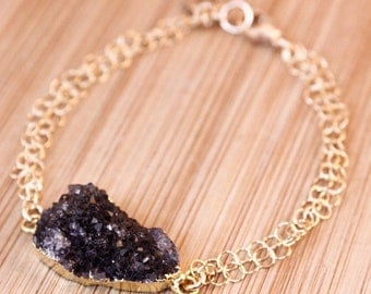 ON SALE Gold Black Druzy Bracelet - Letter Charm Bracelet - Free Form Druzy
