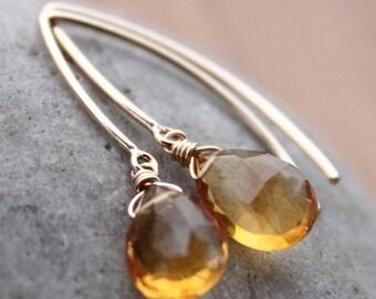 25% OFF Gold Honey Citrine Earrings - Honey Drops - 14KT Gold Filled