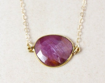 25% OFF Pink Sapphire Necklace – Choose Your Sapphire – 14k Gold Filled