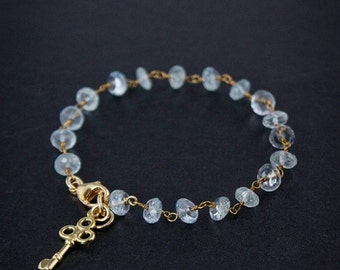 20% OFF Gold Blue Aquamarine Bracelet - March Birthstone Bracelet - 14K GF