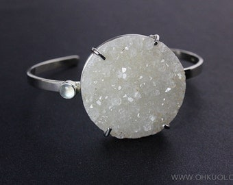 Natural Agate Druzy Bangle – Moonstone – 925 Sterling Silver