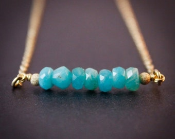 40 OFF SALE Blue Amazonite Necklace - Amazonite Jewelry - 14K Gf
