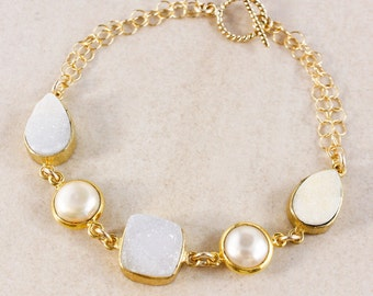 White Druzy Bracelet – Button Freshwater Pearl – 14K Gold Filled