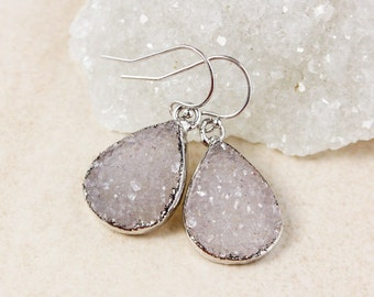 Purple Agate Druzy Teardrop Earrings – Choose Your Druzy