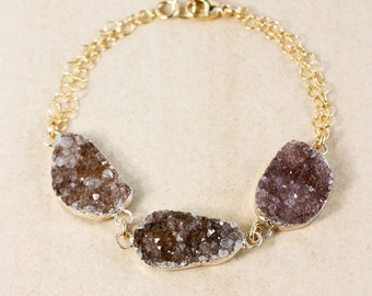 Natural Agate Druzy Bracelet - Free Form Druzy - Gold or Silver