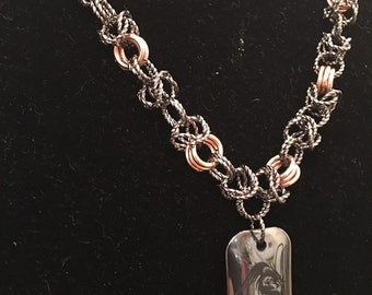 24 inch chain maille unisex necklace in gunmetal and copper with Hematite dragon pendant