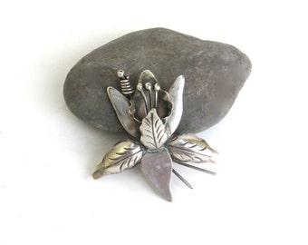 vintage sterling silver pin  ...   taxco ...  flower brooch  ...  floral brooch