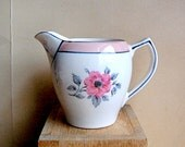 Vintage Ceramic Gibson Creamer With Pink Flower Art Deco Design Small Pitcher or Jug