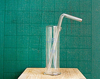 Vintage Miniature Glass Lab Cylinder Beaker Flask for Measuring with Blow Gas Straw.
