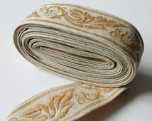 Coffee and Cream Vintage Upholstery Trim Berry and Leaf Scroll Design