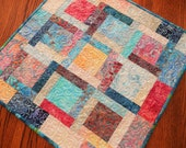 Colorful Batik Table Topper, Quilted Table Topper, Small Square Table Topper, Quilted Table Mat, Pink Aqua Blue and Yellow