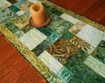 Rainforest Batiks Quilted Table Runner in Lush Greens Blues and Browns, Modern Batik Table Runner, Quilted Table Mat, Woodland Decor
