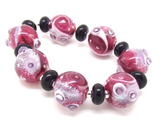 Fuchsia Pink Lampwork Beads,  Lampwork Beads, Lampwork Bead Set, Pink Beads, Glass Beads, UK, SRA, FHFteam