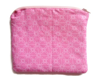Zipper Pouch, Clutch Purse, Cosmetic Bag, Pink,Storage Pouch