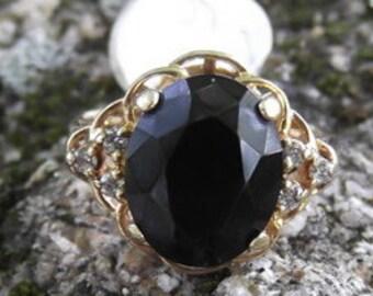 10K Gold Black Onyx Diamond Ring
