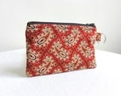 Berry and Tan Paisley Zippered Bag / Coin Purse / Id Case / Gadget Pouch with Split Ring - READY TO SHIP
