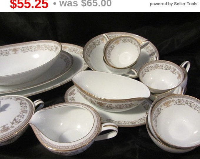 Noritake China 1970's Gracelyn 20+ pieces Platters, Bowls, Sugar Creamer, Gravy Boats, Cups