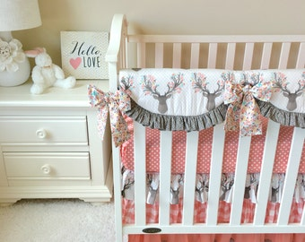 Ritzy Baby Baby Girly Stag With Buffalo Plaid, Coral Deer Head, 3pc Crib Bedding, Payment Options Available!