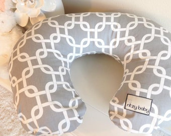Grey Chains Nursing Pillow Cover, Nursing Pillow Covers 100% Cotton, In Stock