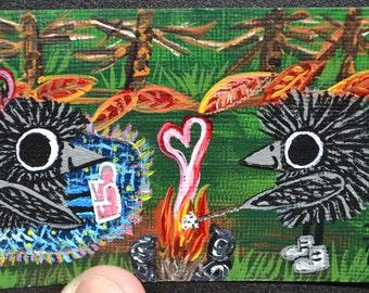 Baby Bird Crow, Aceo, Atc, Autumn Painting, Original Acrylic, Autumn Love