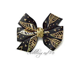 Black And Gold Feather Hair Bow, Feather Hair Bow, Girls Black Hair Bow,  Western Hair Bow, Piggy Tail Hair Bows, Gold and Black Hair Bow