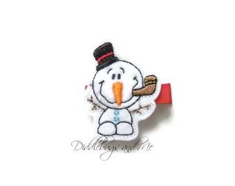 Snowman Hair Clip, Christmas Hair Clip, Snowman With Black Top Hat Hair Clip, Girls Snowman Hair Clip, Snowman With Hat Hair Clip,