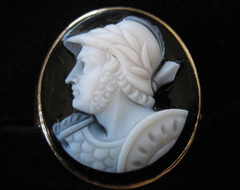 Antique 10 K Carved Stone Cameo Ring, Size 6.5, Genuine Stone