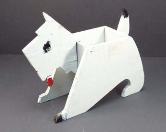 Folk Art Scottie Dog Vintage Handmade Wooden Dog