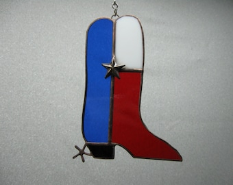 Texas stained glass cowboy boot
