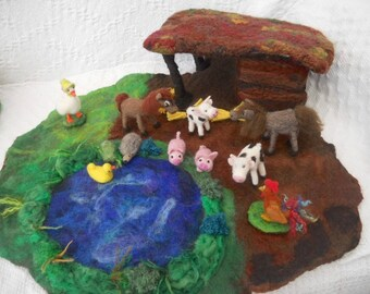 Farm Play Mat, Farm Play Scape, Waldorf, Play mat, Horse and Cow stable, Wet Felted play mat, felted Farm Stable