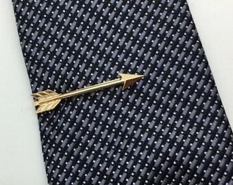 Arrow tie bar- silver or gold arrow tie bar-  arrow tie clip - tie accessories - gift for men gift for boys - comes in a silver gift box