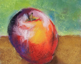 Apple - Original Pastel Drawing by Jamies Art 5x5