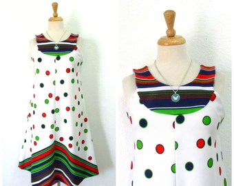 Vintage 1960's Polka dot dress Chevron Space age A line dress Small