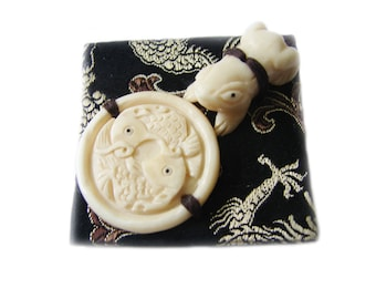 Free Shipping Very Rare Art Deco 1930s Good Luck Asian Wedding Amulets Japanese Hand Carved Netsuke Brooch Pin