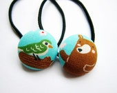 Button Ponytail Holders - Bird and Bear