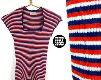 Vintage 70s Red, White and Blue Striped Stretchy Tight Top with Scoop Neck!