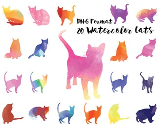 20 Watercolor Cats Clip Art in PNG Format Instant Download