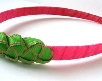 Pretty in Pink Green Braided Bow Headband Half A Inch